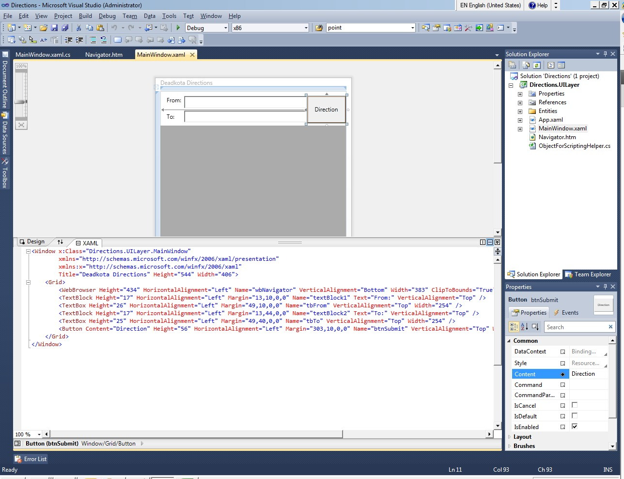 turn by turn directions application using WPF and c#